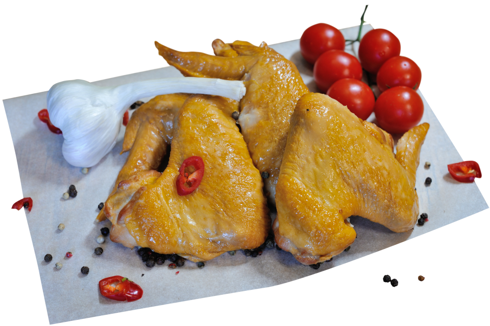 Boiled-smoked chicken wing