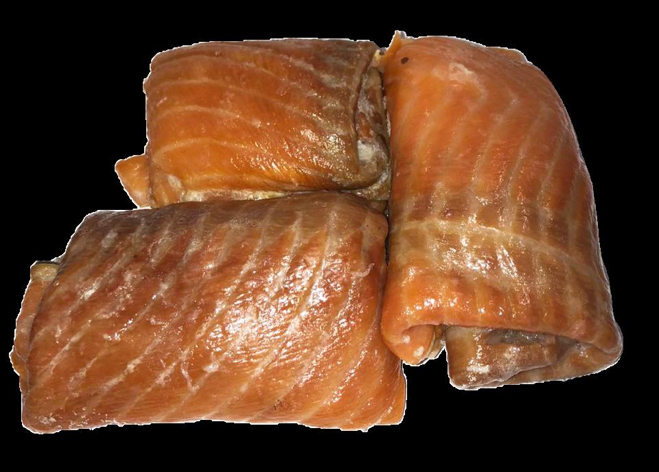 Подшкурное мясо лосося горячего копчения